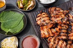 This grilled chicken, known as dak gui, has a flavor reminiscent of teriyaki chicken but with a more complex slant.