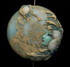 Etsy Supplies -Staring at the Sea Mermaid Sea Goddess Aqua Terra Jasper & Polymer Clay face BEAD. $23.00, via Etsy.