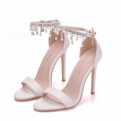 Sexy White Wedding Shoes 2018 Pearl Rhinestone Tassel Ankle Strap 11 cm  Stiletto Heels Open   Peep Toe Wedding High Heels f93d734b34ca