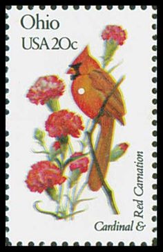 1982 Ohio State Stamp - State Bird Cardinal - State Flower Red Carnation.