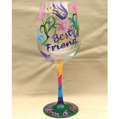 Thank You for Being You Best Friends Hand Painted Wine Glass #bestfriends #wineglass