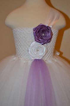 White and Purple Tutu Dress  Flower Girl  by KaceysBoutique, $70.00