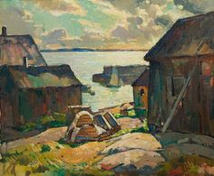 """Lanes Cove Lobster Shacks,"" W. Lester Stevens, oil on canvas mounted on board, 20 x 24"", private collection."