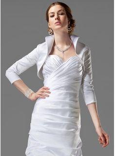 34 length sleeve satin wedding wrap 013042426 jjshouse - Bolero Plume Mariage