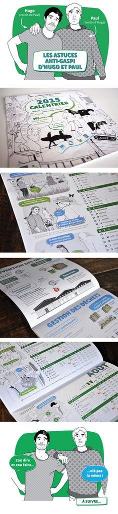 Communauté de Communes de l'Île d'Oléron Conception et mise en page du calendrier du tri sélectif, réalisation des illustrations type BD du document.