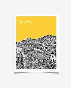 Boulder Colorado  - City Skyline Series Poster - University of Colorado Boulder - Buffaloes. $20.00, via Etsy.