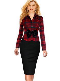 V-neck Plaid Color Contrast Bowknot Long Sleeve Slim Long Dress