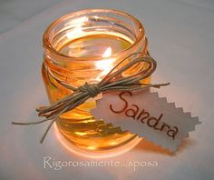 segnaposto Glass Jars, Candle Jars, Candles, Ideas Para Fiestas, Jar Crafts, Candle Making, Christmas Time, Party Favors, Place Cards