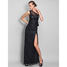 Formal Evening/Prom/Military Ball Dress Sheath/Column One Shoulder Floor-length Lace Dress – USD $ 129.99
