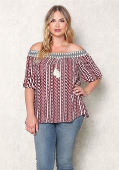 Plus Size Clothing | Plus Size Chevron Off Shoulder Blouse | Debshops