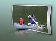 A Father and Son in a conoe paddling through White's Cove in Pasadena, Maryland.  I created the composition in an OOF (Out Of Frame), also known as OOB, (Out Of Bounds) technique which gives the appearance of a pseudo 3D effect.