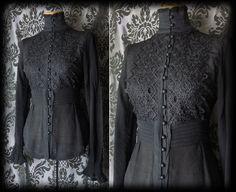 Gothic Black Lace Bib Detail NIGHTSHADE High Neck Blouse 12 14 Victorian Vintage - £36.00