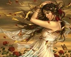 Girl in the wind. To be painted in watercolor with an Indian inspiration.
