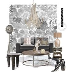 Kelly Wearstler & Fornasetti Wallpaper..... by gloriettequartet on Polyvore featuring interior, interiors, interior design, home, home decor, interior decorating, Gabby, Kelly Wearstler, Bliss Studio and Puji