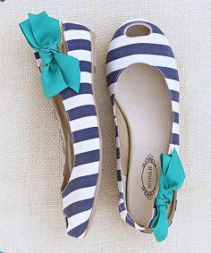 Navy & White Stripe Cutout Mia Flats - Joyfolie