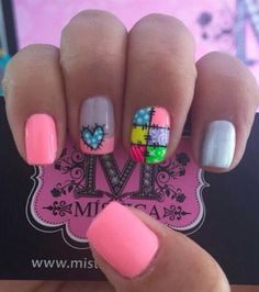 Nail Art Diy, Diy Nails, Cute Nails, Pretty Nails, Feather Nail Art, Happy Nails, Short Nails Art, Prom Nails, Cute Nail Designs