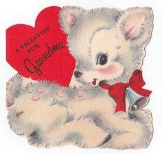 Vintage Greeting Card Cute Flocked Deer Hallmark Die-Cut Valentine's Day