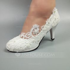 Women's Leatherette Stiletto Heel Closed Toe With Stitching Lace - Wedding Shoes - JJ's House White Wedding Shoes, Wedding Shoes Heels, Bride Shoes, Swatch, Sparkly Shoes, Marie, Stiletto Heels, Fashion Shoes, Couture