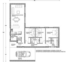 NICE DONACASA 155m2 Bungalow House Plans, Modern Bungalow, New House Plans, Modern House Plans, Small House Plans, House Floor Plans, L Shaped House Plans, May House, House Construction Plan