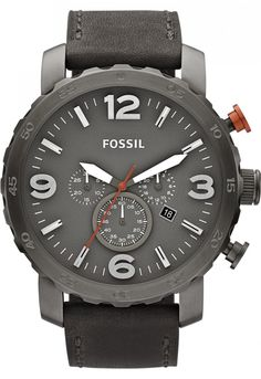 FOSSIL Nate Chronograph Leather Watch - Grey < $119.95 > Fossil Watch Men