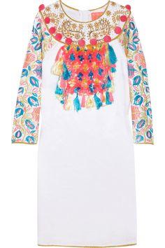 Embellished linen-blend dress by Manoush