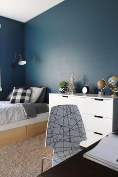 Mid Century Inspired Teen Boy's Room Hague Blue walls , moody walls, dark walls, IKEA Nordli hack, wall lamps, wall sconces