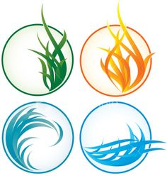 Four Elements, stock illustration. Simple lines.
