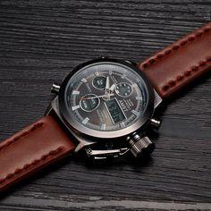 Men Sport Military Watch AMST Brand Dive LED Watches Genuine Leather Quartz Watch Men Wristwatches