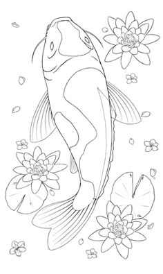 Realistic Coloring Pages Koi Fish Tattoo Coloring Pages – Fish Supplies Koi Fish Drawing, Fish Drawings, Art Drawings, Lily Pad Drawing, Animal Line Drawings, Simple Drawings, Music Drawings, Drawing Animals, Koi Painting