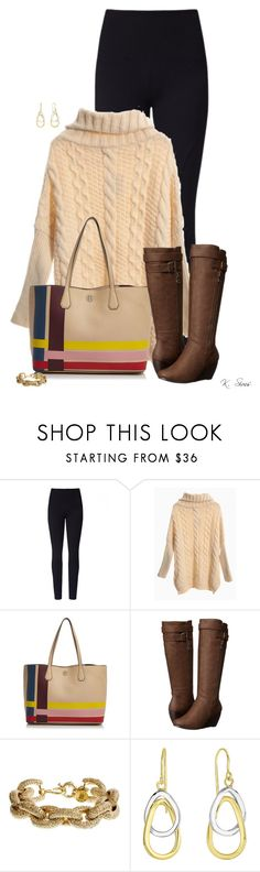 """Oversized Sweater"" by ksims-1 ❤ liked on Polyvore featuring Lyssé Leggings, Tory Burch, Blowfish and J.Crew"