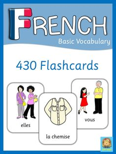 This set has 470 flashcards for your French lessons. They are a great visual help for introducing French vocabulary and cover all major topics from adjectives to weather.