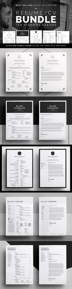 Resume/CV Bundle - 10 classic designs with cover letters & matching business cards. Easy to customize templates, available in MS Word | inDesign | Photoshop | Black Collection by bilmaw creative on Creative Market