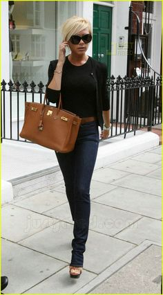 Victoria Beckham jeans, Hermes birkin bag, love this whole look especially bag!