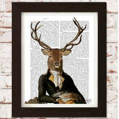 Printed onto genuine antique dictionary pages  This Deer and Chair Portrait piece is a print of an original illustration on antique 1800's dictionary pages.