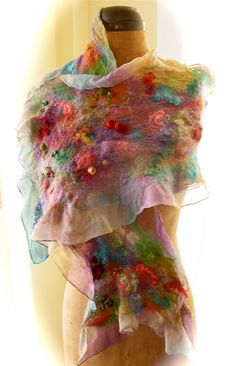 nuno felt shawl, carnival colorway available at www.dancingleaffarm.com. Kits too! $175