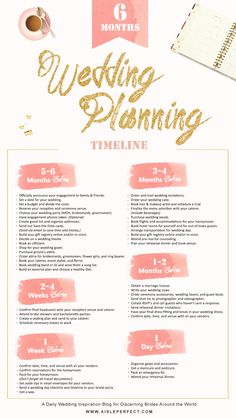 A 6 month wedding planning timeline for brides-to-be with key dates and milestones to plan your special day.