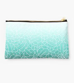 """Ombre turquoise blue and white swirls zentangle"" Studio Pouch by @savousepate on @redbubble #pouch #purse #clutch #bag #pattern #drawing #doodles #zentangle #abstract #ombre #gradient #vibrant #blue #mint #cyan #turquoise #aquamarine #amazonite #caribbeanblue #caribbeangreen #teal"