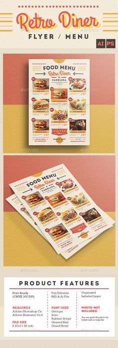 Retro Diner Flyer/Menu  - PSD Template • Only available here ➝ http://graphicriver.net/item/retro-diner-flyermenu/13720986?ref=pxcr