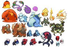 sketchatorium - Second half of my monster collection list! Game Character Design, Character Design References, Character Design Inspiration, Character Concept, Character Art, Oc Pokemon, Pokemon Fan Art, Anime Character Drawing, Character Sketches