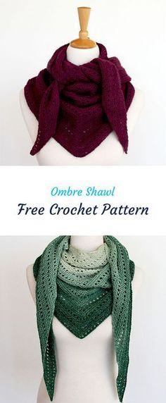 Ombre Shawl Free Crochet Pattern #crochet #crocheting #crocheted #yarn #handmade #crafts