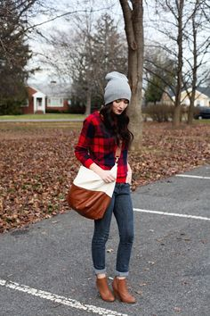 Gray Beanie + Buffalo Plaid + Camel Ankle Boots