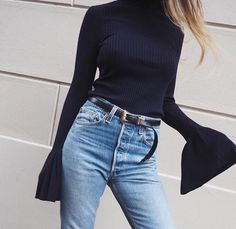 Blue Denim | High Was it Skinny Jeans | Bell Sleeves | Ripped Polo Neck | Black Skinny Belt