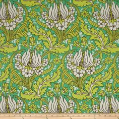 Amy Butler Temple Home Decor Sateen Tulips Emerald Fabric