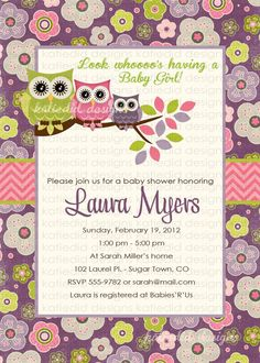 Cute girl baby shower invitation featuring a little pink cartoon owl cute girl baby shower invitation featuring a little pink cartoon owl sitting on a branch with green leaves and hot pink flowers the back of the in filmwisefo