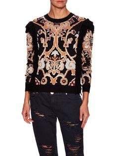 Tilda Floral Fringe Sweater from Torn by Ronny Kobo on Gilt