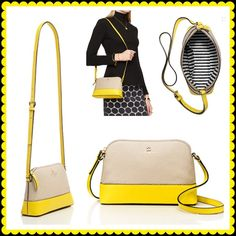 """Kate Spade Southport Avenue Hanna Crossbody % Authentic Southport Avenue Hanna Crossbody in yellow and tan. Chunky pebbled cowhide and library stripe lining. 14 karat light gold plated hardware. Has a zip top closure, an adjustable strap and an interior side pocket. 6.2""""h x 9""""w x 2.9""""d. ♣️Matching wallet also available! Bundle & save!♣️ No trades or low ball offers. kate spade Bags Crossbody Bags"""