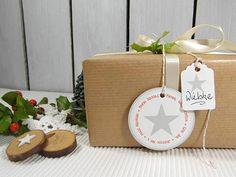 Geschenkverpackungen - Weihnachtsanhänger Anhänger Geschenk Stern grau - ein Designerstück von DesignArbyte Grafik Design, Christmas Presents, Paper Shopping Bag, Gift Tags, Ale, Gift Wrapping, Gifts, Decor, Star
