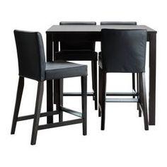 "BJURSTA/ HENRIKSDAL bar table and 4 bar stools, Robust black, brown-black Length: 43 1/4 "" Length: 110 cm"