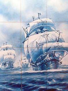 Azulejos (embarcações dos descobrimentos marítimos com a Cruz de Cristo nas velas) pintados à mão – Tavira - Portugal = Hand-painted azulejos tiles in Tavira - Portugal