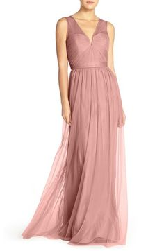Amsale 'Alyce' Illusion V-Neck Pleat Tulle Gown $310  in Rose